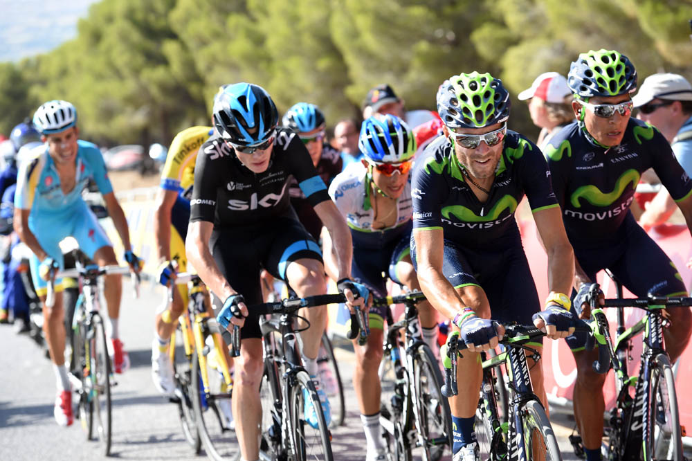 Alejandro Valverde leads Quintana and Froome on stage six of the 2014 Tour of Spain